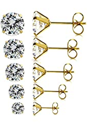 5 Pairs Assorted Sizes Wholesale Lot Stainless Steel Cubic Zirconia Stud Earrings, Hypoallergenic, Nickel-free, Lead-free