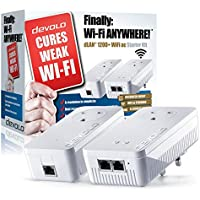 Devolo dLAN 1200+ Wi-Fi AC Powerline Starter Kit (Wi-Fi 802.11 AC Extender Kit, Pass Through, 2 GB LAN Ports, 1200 Mbps) NOT FOR USE IN THE UNITED STATES