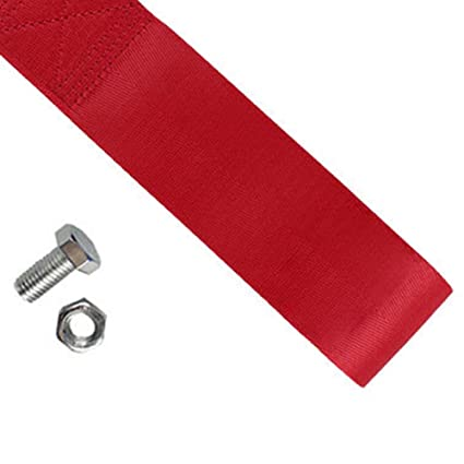 Red 8-12MM Racing Towing Hook Sports Tow Strap Set Car gh Strength Red for Vehicle Front Rear Bumper