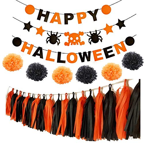 Happy Halloween Banner Kit with 6 Pompom Flower Tissue Paper and 20 Paper Tassel Garland, All Saints' Day Decor Supplies for Halloween Party Home Decorations