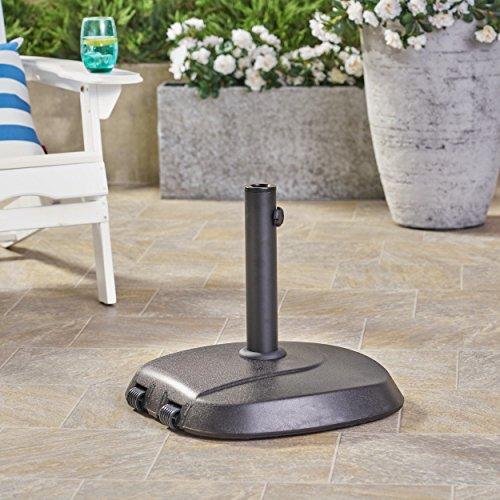 Great Deal Furniture Leon Outdoor 59.5lb Concrete Circular Umbrella Base with Aluminum Collar, Black