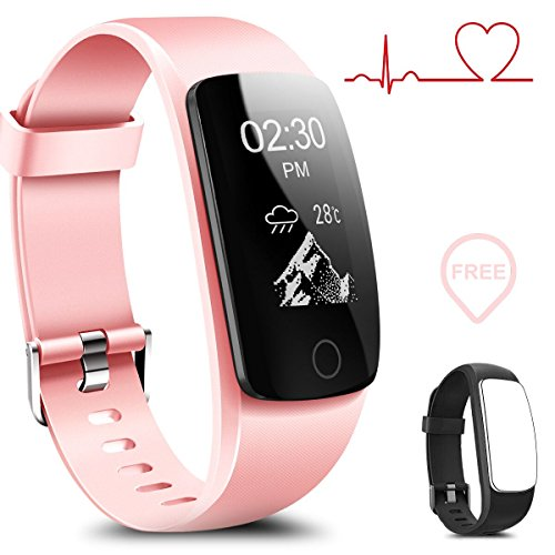 Coffea Fitness Tracker  H7 Hr Activity Tracker   Heart Rate Monitor Wireless Bluetooth Smart Wristband Bracelet  Waterproof Fitness Watch With Replacement Band For Android   Ios  Black Pink