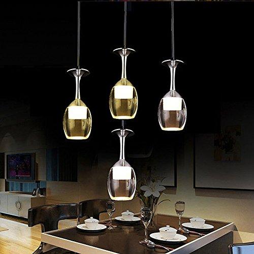 Allrise 1PC 85-265V LED Wineglass Chandelier Dining Room Pendant Lamp Modern Simple Ceiling Light Downlight Fixture (White)