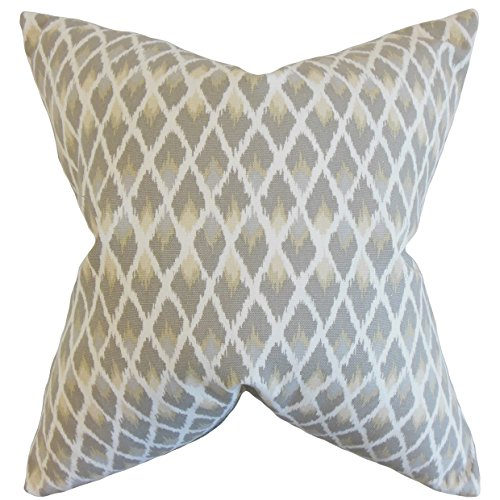 The Pillow Collection Paxton Ikat Bedding Sham Pewter, Euro/26