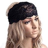 Binmer(TM)Fashion Hairband Gentlewomen Yoga Elastic Hair Band Vintage Cutout Lace Decoration Headband (Black)
