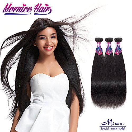 Peruvian Straight Virgin Hair 3Pcs, Mornice Hair 10A Human Hair Bundles Extensions 100% Unprocessed Natural Color (18 20 22)