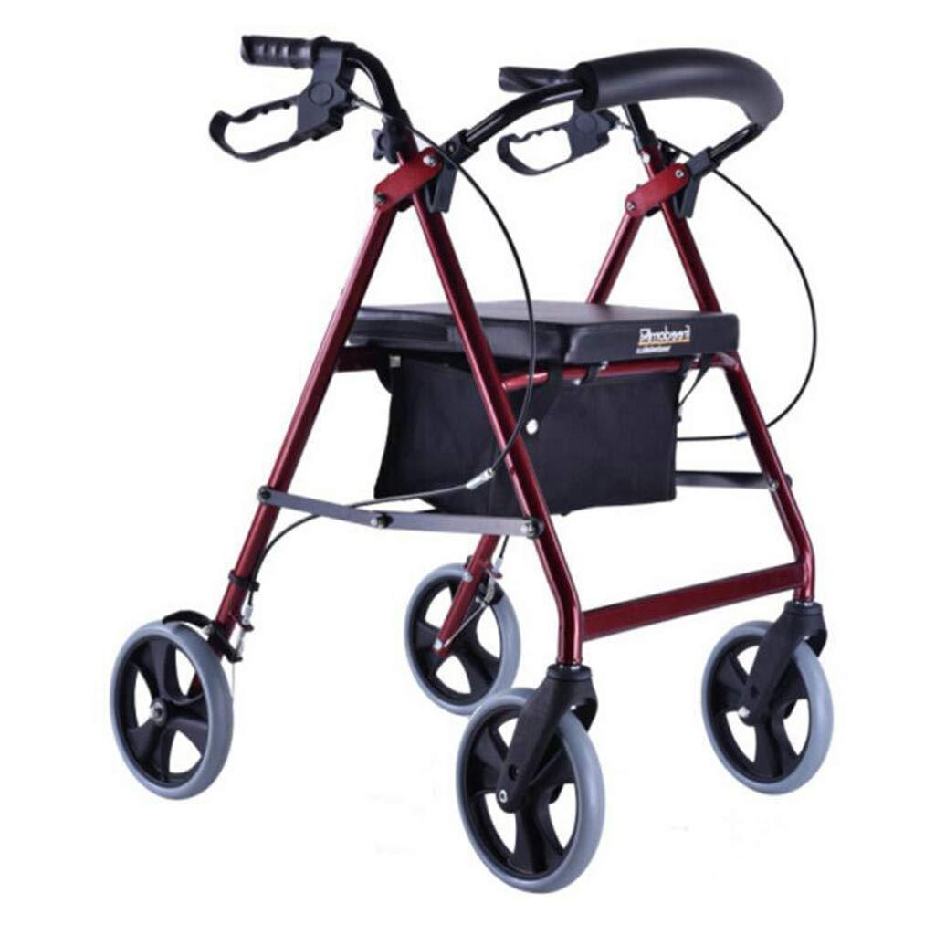 シニアヘルプショッピングカート、アルミウォーキングトロリー折りたたみウォーカー (色 : Red1)  Red1 B07P9XKYWF