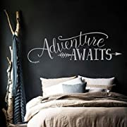 BATTOO Adventure Awaits Wall Decal Quote, Vinyl Lettering with Arrow, Adventure Quote Travel Wall Decal Sticker 42  W 14  H, Tribal Theme Room Decor, Slate Gray
