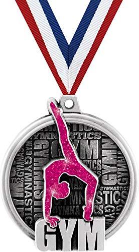 クラウン賞 体操メダル - 2インチ クドス ピンク 体操 賞 メダル シルバー プライム B07GK1DN8Q  5