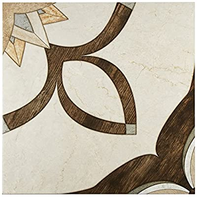 "SomerTile FCL18AGN Mountain Ceramic Floor and Wall Tile, 17.75"" x 17.75"", Beige/Brown/Grey"