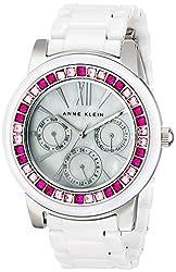 Anne Klein Women's AK/1683PKWT Pink and Fuchsia Swarovski Crystal Accented White Ceramic Bracelet Watch