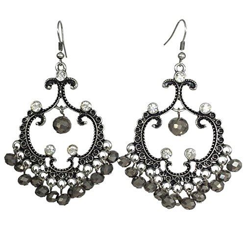 Vintage look Chandelier Fancy Open Swing Long Dangle Earrings (Hematite Grey) ()