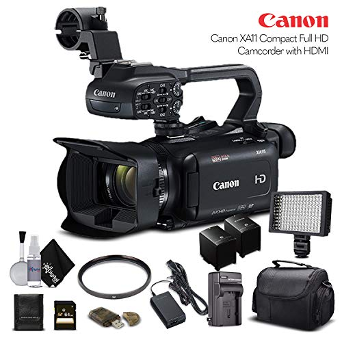 Canon XA11 Compact Full HD Camcorder 2218C002 with 64GB Memory Card, Extra Battery and Charger, UV Filter, LED Light, Case and More. – Starter Bundle