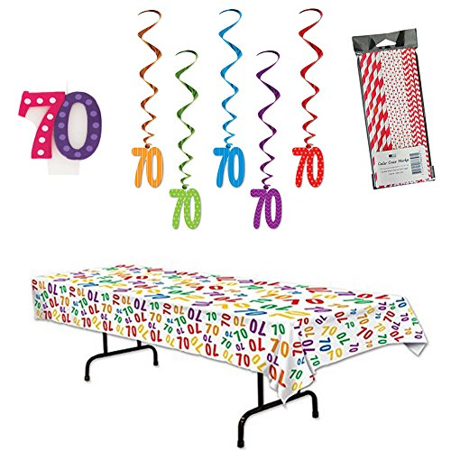70th Birthday Celebration Party Decoration Supplies Including Hanging Swirls, Table Cover, Candle, and Straws
