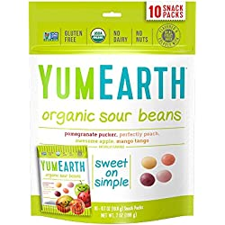 YumEarth Organic Sour Beans, 10 snack packs