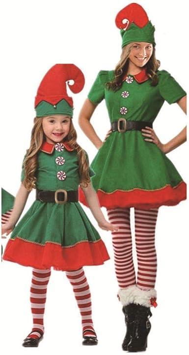 SJHJA Trajes De Navidad Rojo Disfraz De Duende Navideño Disfraz De ...