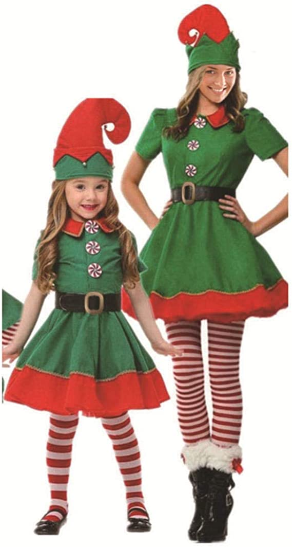 SJHJA Trajes De Navidad Rojo Disfraz De Duende Navideño ...