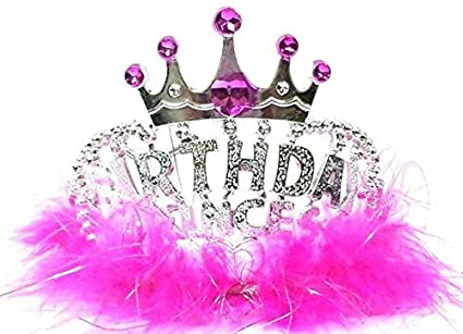 Amazon.com: Princesa Tiara Corona de Cumpleaños con Boa de ...