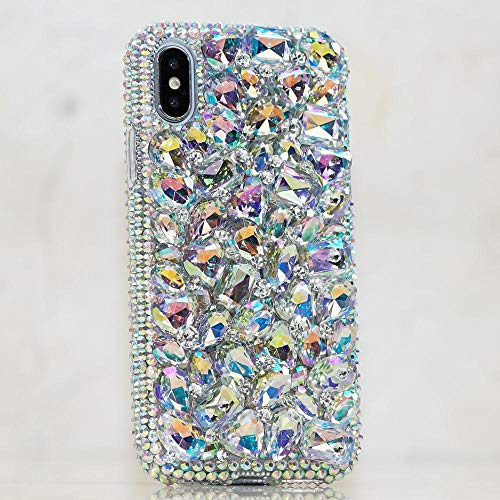 Stones Aurora (iPhone X/XS Case, [Premium Handmade Quality] Bling Genuine Aurora Borealis Crystals AB Gems Stones Protective Easy Grip Case Cover [by Luxaddiction])