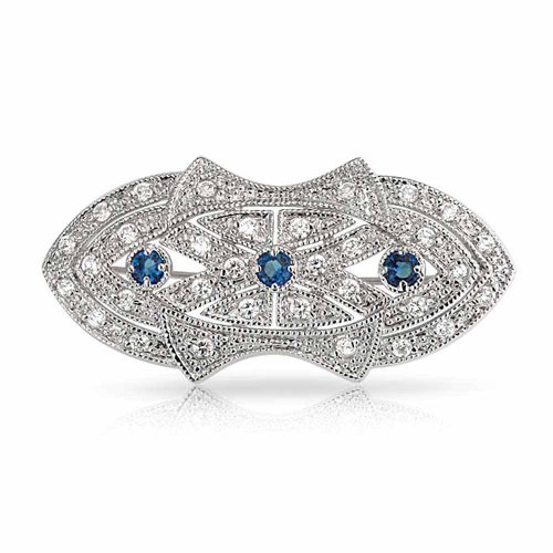 Bling Jewelry Art Deco Style Scarf Brooch Pin for Women Blue Clear CZ Simulated Sapphire Silver Plated Brass Art Deco Pin Brooch