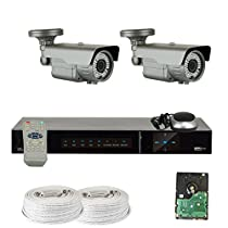 GW Security VD4CH2C788HDS 4 CH HD SDI DVR 1080P Security System with 2 x 2.1MP 2.8-12mm Cameras (Grey)