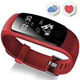 Fitness Tracker - Ausun 107 Plus Heart Rate Monitor Waterproof Activity Tracker Calories Counter Smart Wristband GPS Pedometer Watch Sports Bracelet with Sleep Monitor (Red)