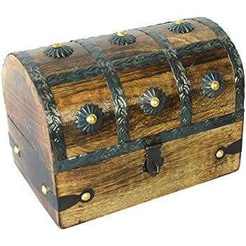 Nautical Cove Treasure Chest Keepsake and Jewelry Box Wood - Toy Treasure Box Large (6.5  sc 1 st  Amazon.com & Amazon.com: Pirateu0027s Treasure Chest Trinket / Mini Jewelry Box ... Aboutintivar.Com