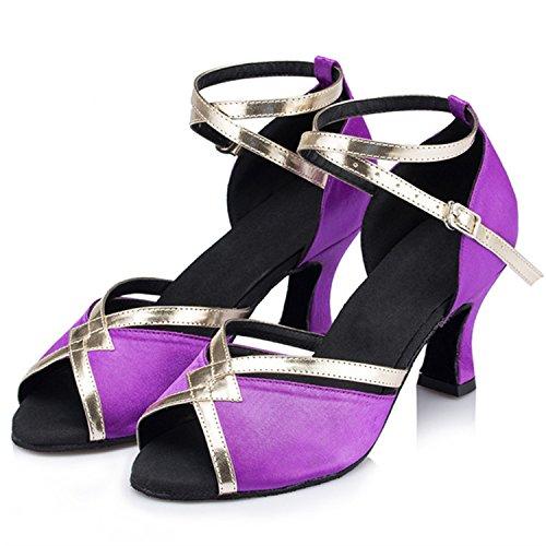 de Zapatos Adultos de Zapatos Zapatos Baile de Latino Modern Latino Púrpura Tobillo Cuero BYLE Zapatos Baile de de Samba de Baile Verano Onecolor Jazz Sandalias Tira 65Zx7C
