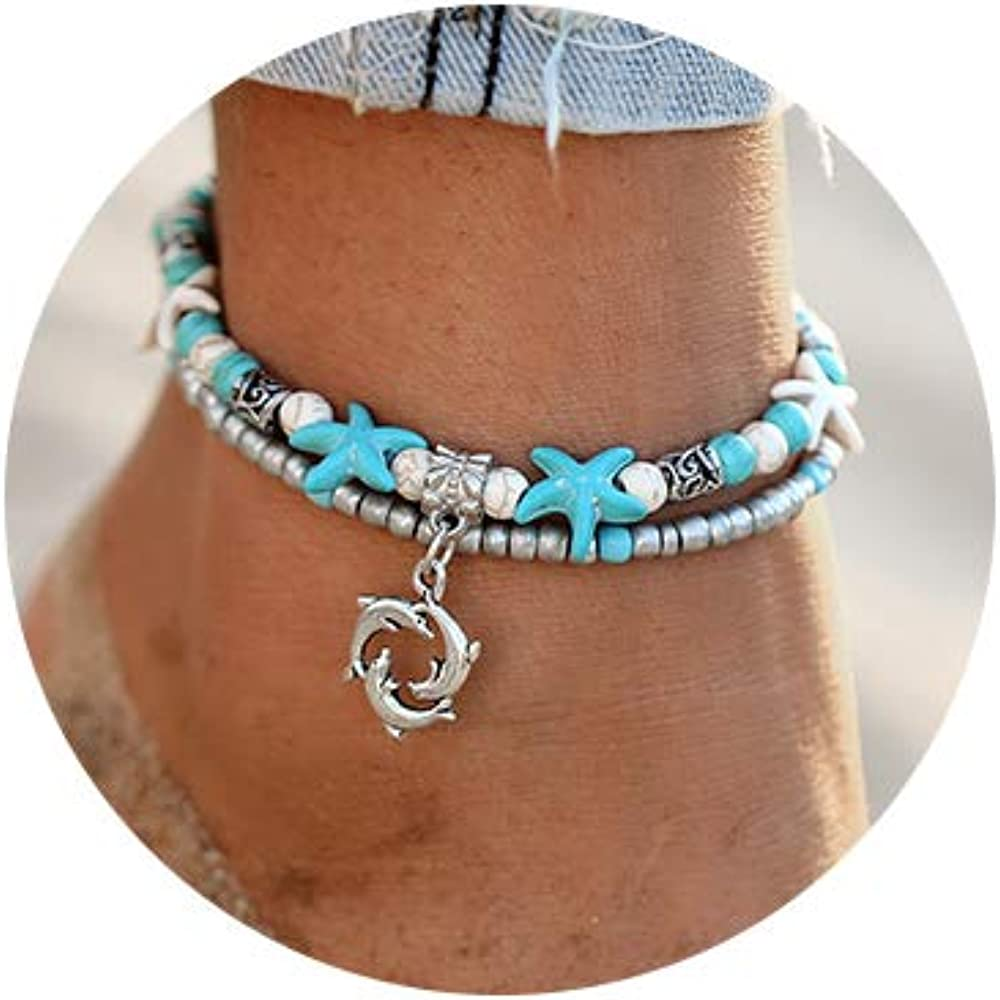 Dolphin Blue Boho starfish Beach Bracelet Anklet Beaded Anklet Shell Multi-layer Anklets Jewelry Gifts for Girls