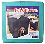 Pet Ottoman Dog Cat Foldable Storage Sleep Area Padded Foot Rest (Green (Mint))