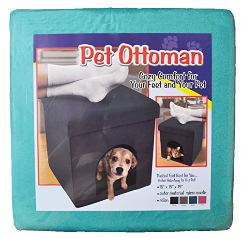 Pet Ottoman Dog Cat Foldable Storage Sleep Area Padded Foot Rest (Green (Mint))