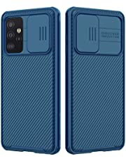 Galaxy A72 4G/5G Case with Camera Cover,Galaxy A72 (2021) Slim Fit Thin Polycarbonate Protective Shockproof Cover with Slide Camera Cover, Upgraded Case for Samsung Galaxy A72 (Black) (Blue)