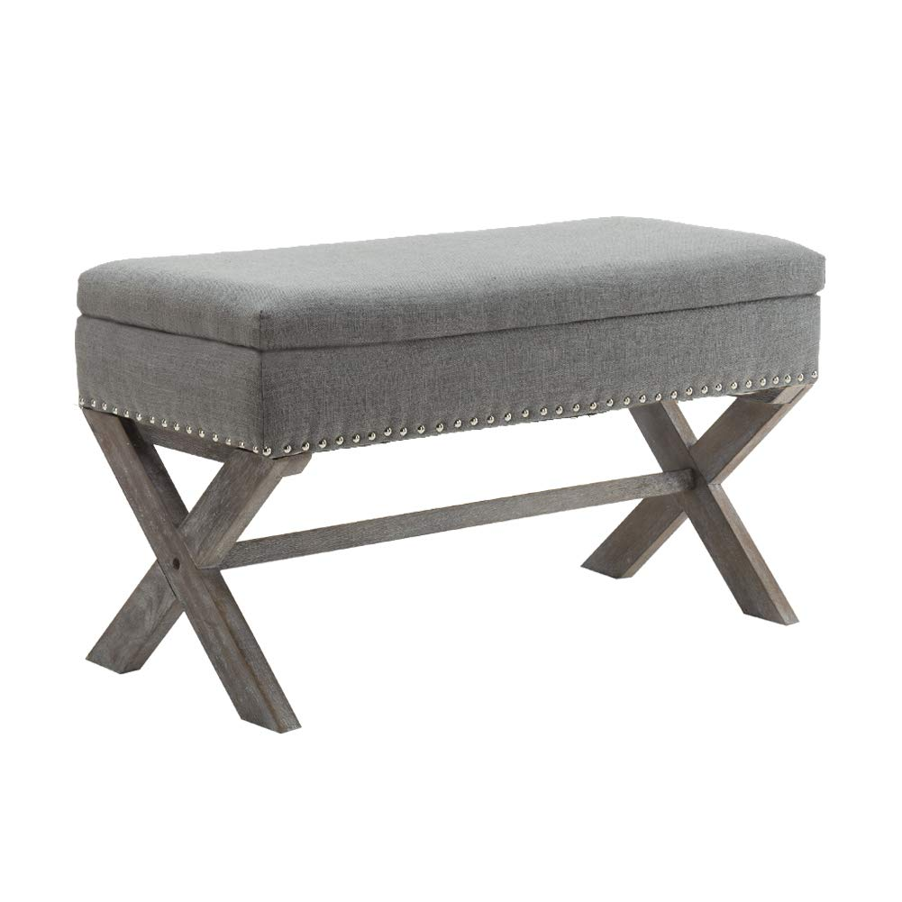 Fabric Upholstered Storage Ottoman Bench, Large Rectangular Gray Footrest Collapsible Bench Seat with Nailhead Trim & X-Shaped Wood Legs for Living Room, Bed Room, Hallway or Utility Room by Chairus by Chairus