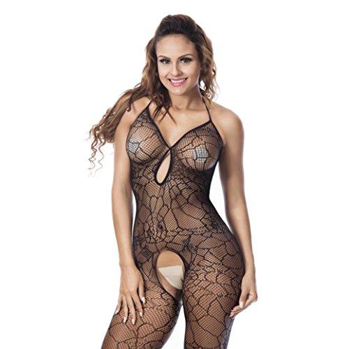 Sexy Womens Crotchless Mesh Halter Lingerie Open Crotch Babydoll Spider Web Bodystocking Underwear Sleepwear (Black) (Sexy Black Spider)