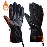 kamlif Winter Heated Gloves, Hand Warmer Leather Gloves Touch Screen Waterproof Thermal Gloves Driving Cycling Skiing Riding Motorcycle Golves with Rechargeable Battery