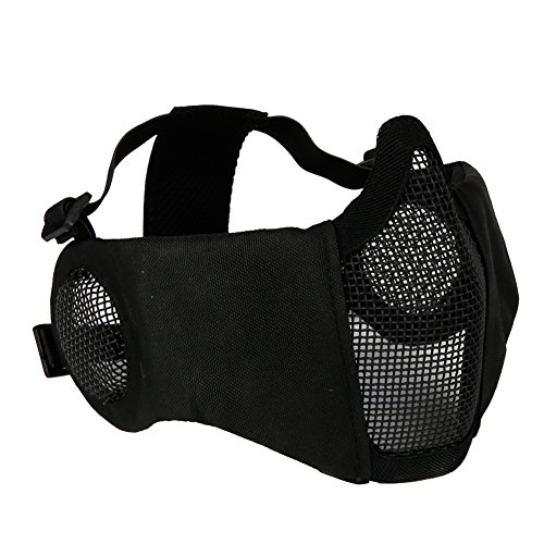Outry Half Face Mask - One Size Fits Most - Lower Face Protective Mask for Airsoft/Paintball/BB Gun/CS Game/Hunting/Shooting - Black - Steel Mesh with Ear Protection