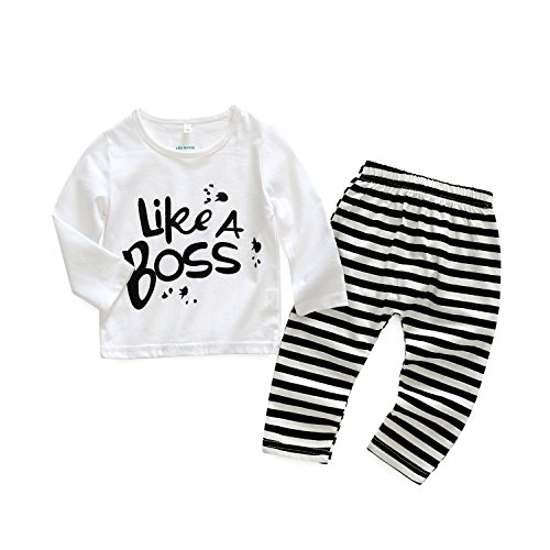 2pcs Baby Boy T-shirt Tops+Pants Casual Outfits (White+Black) - 4