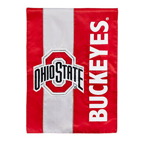 Team Sports America Ohio State University Outdoor Safe Double-Sided Embroidered Logo Applique Garden Flag, 12.5 x 18 inches (Ohio State Basketballs)