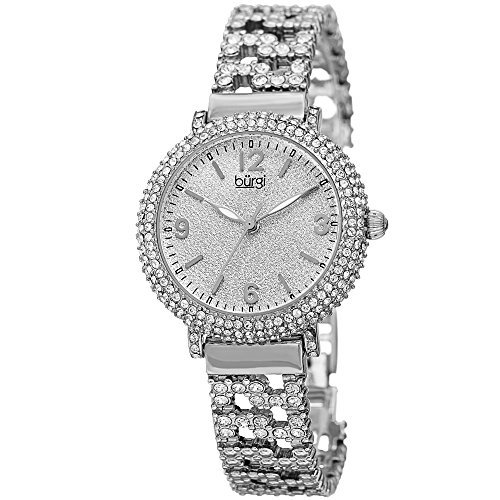 Burgi Swarovski Crystal Women's Fashion Watch - Crystal Filled Sparkling On Silver Powder Finished Dial on Stainless Steal  Bracelet Watch - BUR140 ()