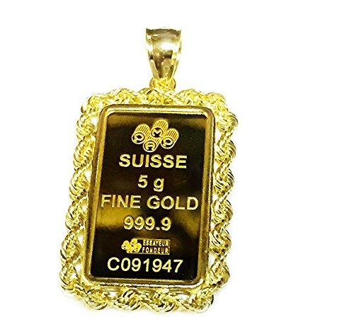 24k Fine Gold Suisse 5 gram Bullion Ingot 14kt Rope Framed Charm/Pendant
