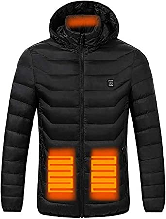 Oyria Unisex Heated Jacket Waterproof Windproof Softshell Hoodie Jacket with 3 Temperature,USB Charging Electric Body Warmer Wrap Jacket Coat for Outdoor Camping Hiking Hunting Black,2XL