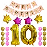 old birthday - KUNGYO Sweet 10Th Birthday Party Decorations Kit-Pink Happy Brithday Banner,Number 10 Golden Mylar Foil Balloon, 4 PCS Star,16PCS Gold Pink Latex Balloon, Perfect Ten Years Old Birthday Party Supplies