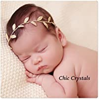 Leaf band with Swarovski Crystals, Baby girls leaf wrap, photo prop, gold head wrap,Newborn girls, flower girls headband, hair accessories