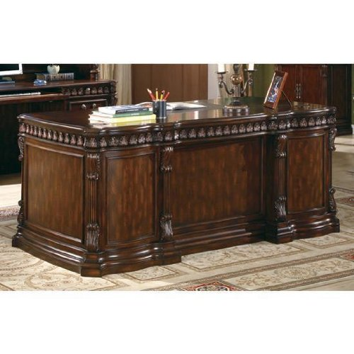 amazoncom union hill double pedestal desk with leather insert top kitchen dining cheapest office desks