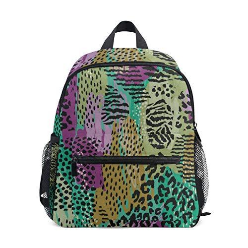 Abstract Animal Leopard Zebra Print School Backpack for Girls Kids Elementary School Bag Mini - Hello Zebra Print Kitty