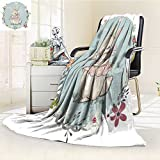 Microfiber Fleece Comfy All Season Super Soft Cozy Blanket cute hare girl for Bed Couch and Gift Blankets(90''x 70'')