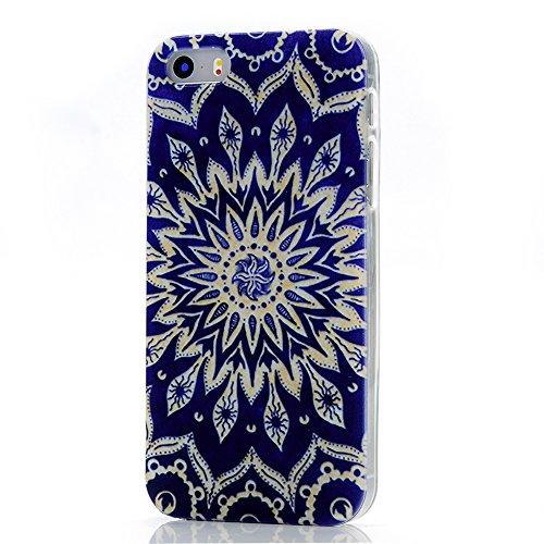 MAXFE.CO Painted TPU Silikon Tasche Hülle Schutzhülle Etui für iPhone 5S/ 5 Case Crystal Durchsichtig Klar Transparent- Totem blauen Blumen Muster Design