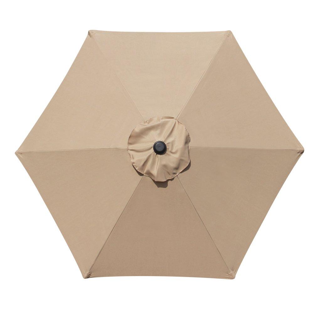 Blissun 7.5 ft Outdoor Market Patio Umbrella with Push Button Tilt and Crank Tan