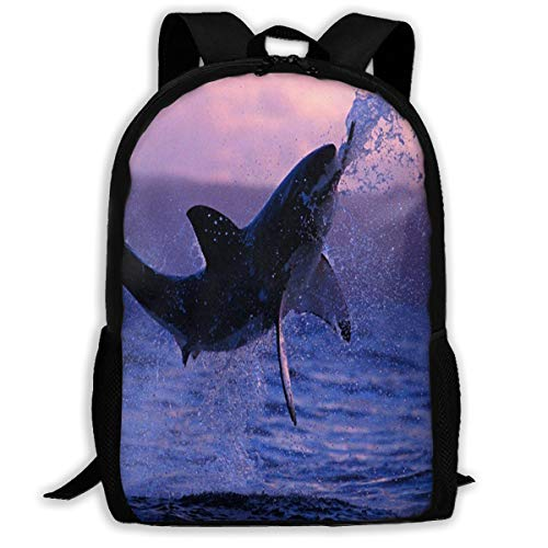 Backpack Great White Shark Zipper School Bookbag Daypack Travel Rucksack Gym Bag For Man Women