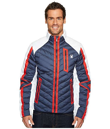 Spyder Men's Vintage Synthetic Down Jacket, White/Red, ()